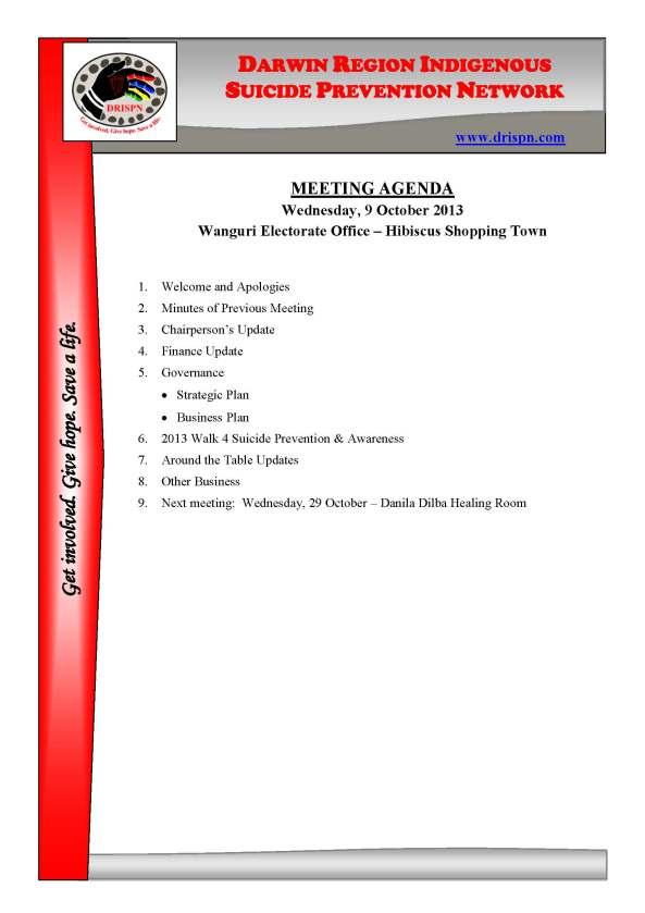 October - Meeting Agenda