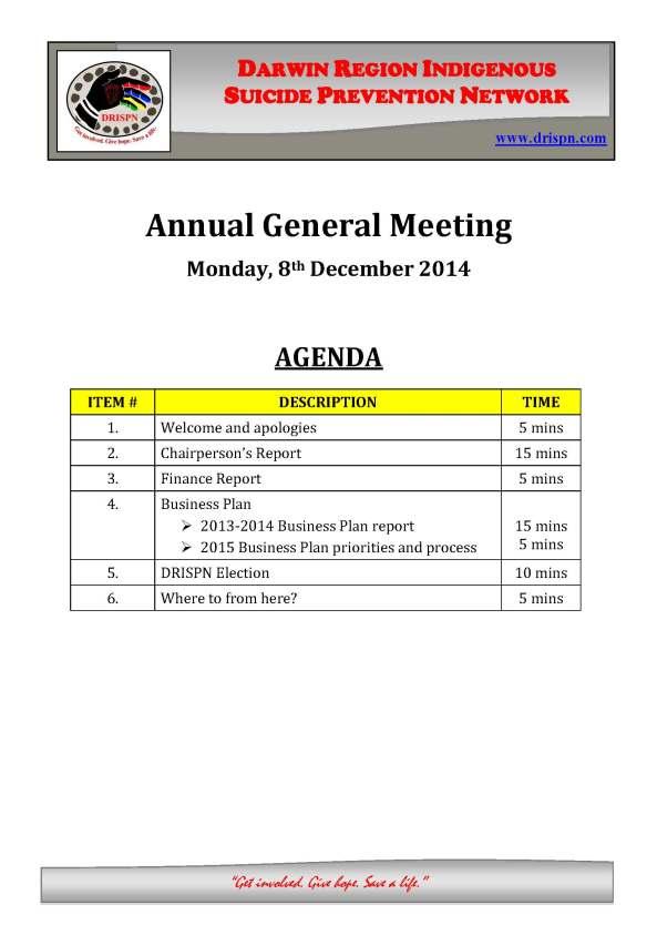 2014 DRISPN AGM Agenda