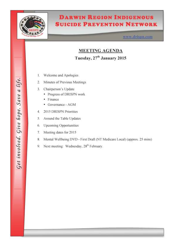 01 - DRISPN Meeting Agenda_January 2015